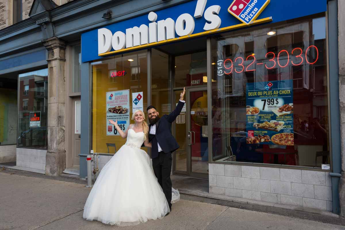 Wedding couple domino's pizza montreal