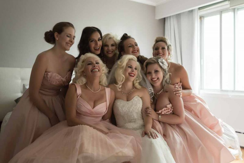Bride with bridesmaids for wedding in Montreal