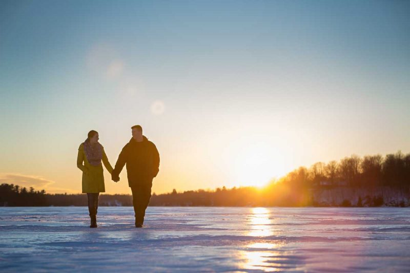 Murphy's Point winter frozen lake engagement session portraits Perth Ontario