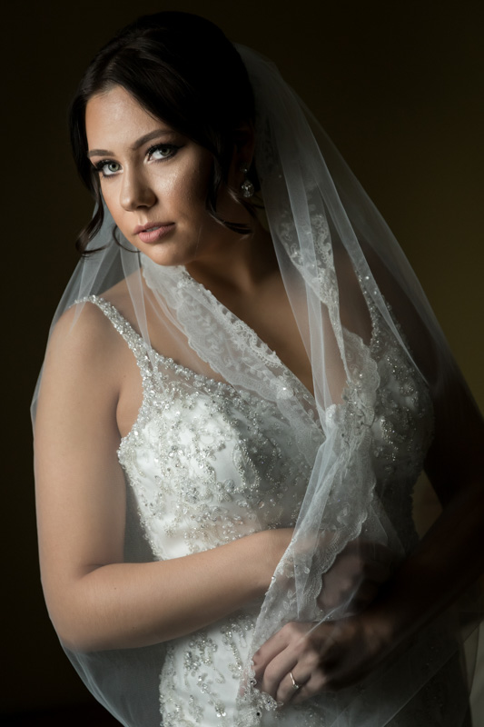 Bride wrapped with veil