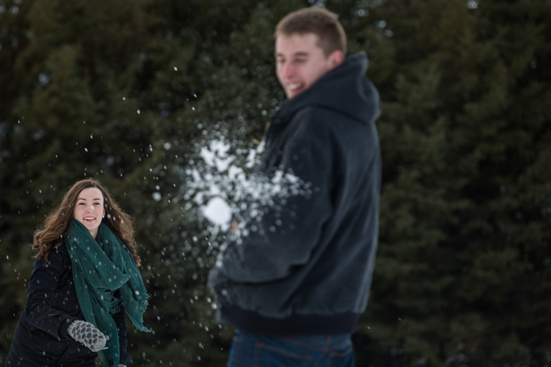 Throwing snow balls into each other