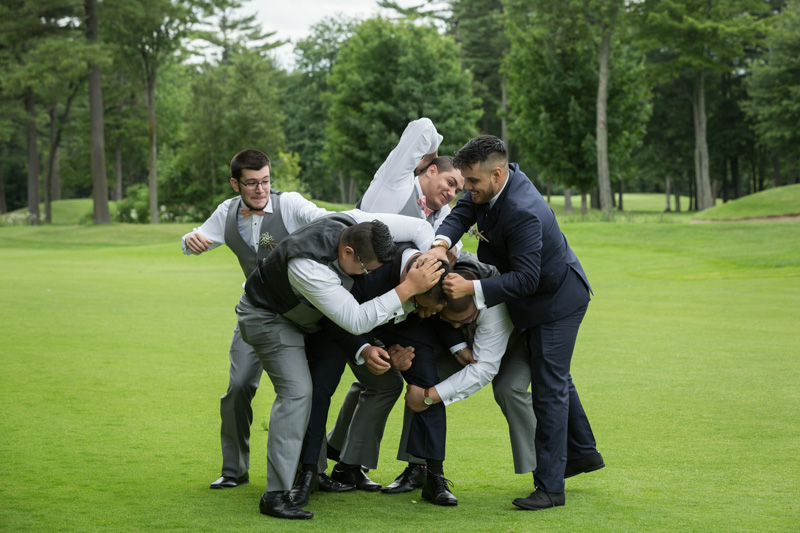 Groomsmen beating up groom