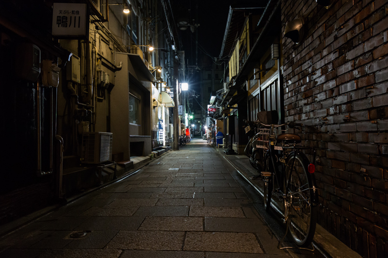 Kyoto Gion at night with bike on the street