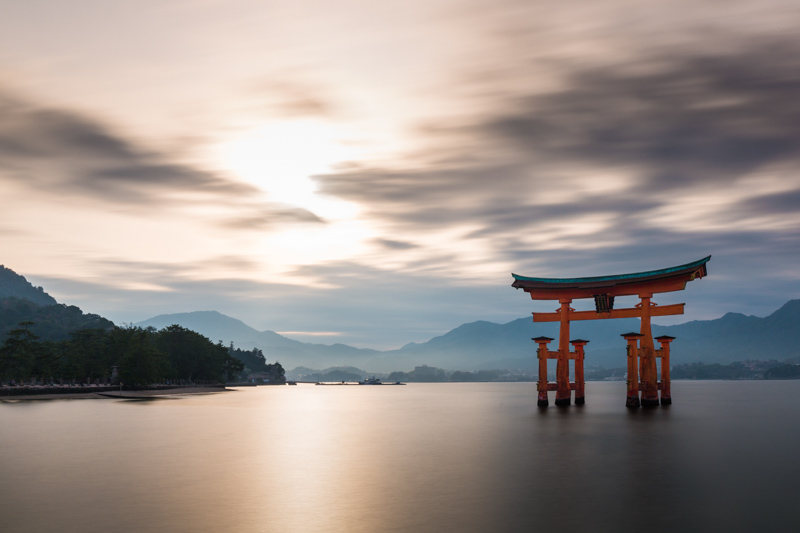 Miyajima O-Torii floating on water high tide