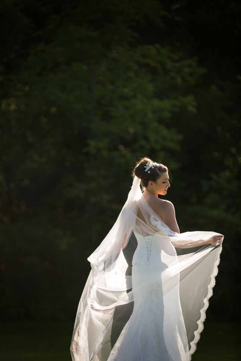 Back of bride holding veil