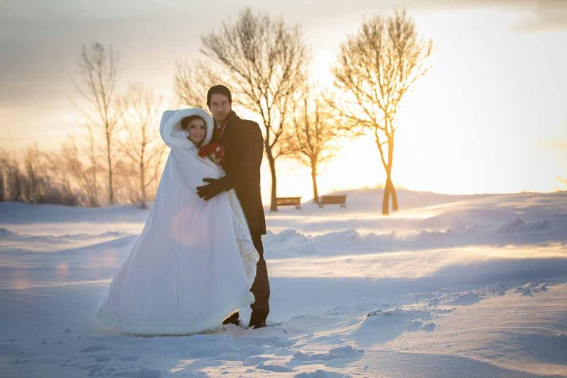 Winter wedding in snow background