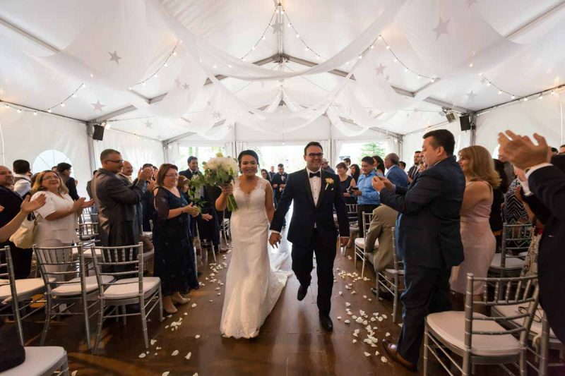Golf Le Mirage wedding ceremony inside tent