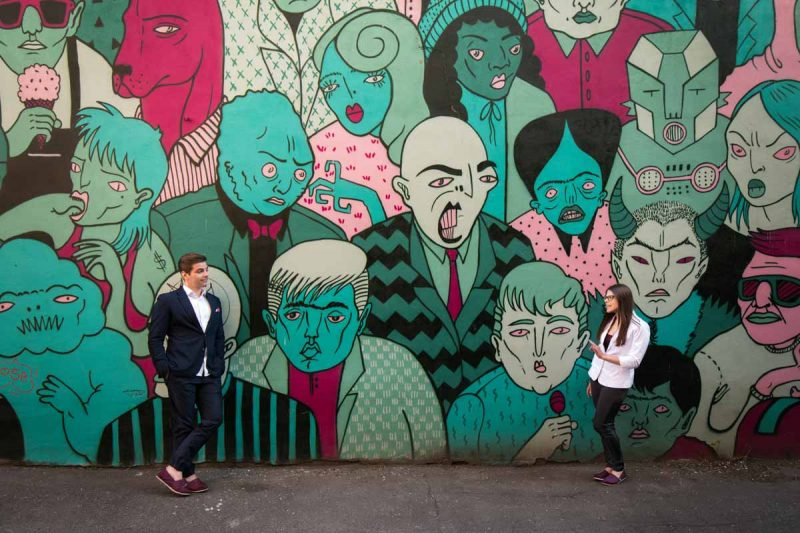 Montreal engagement pictures with graffiti