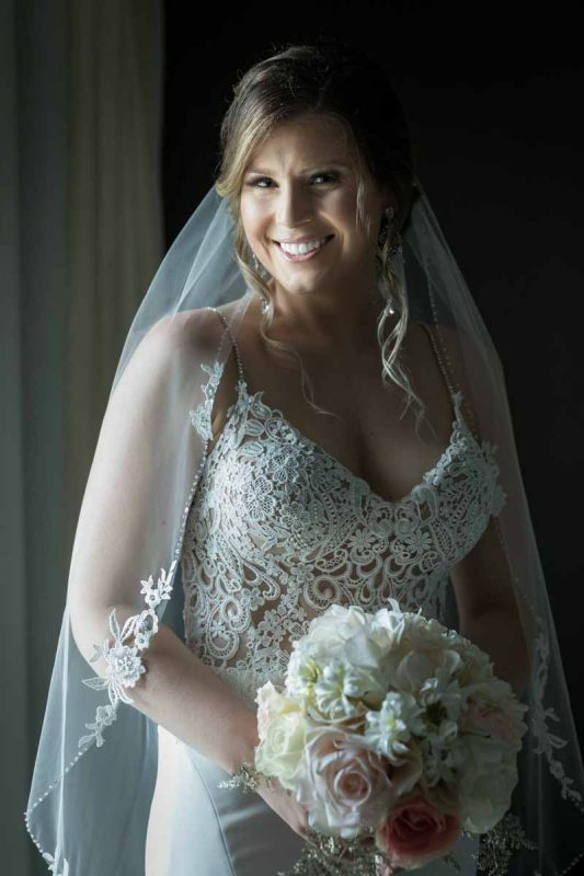 Bride portrait holding bouquet