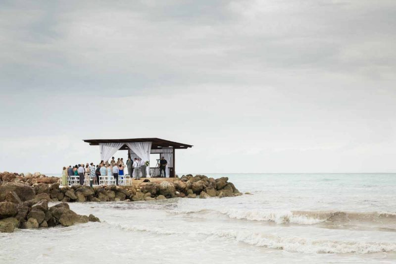 Ocean gazebo at Royalton White Sands Jamaica wedding ceremony