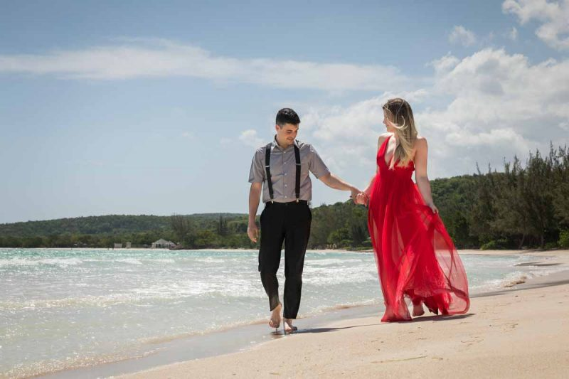 Destination wedding Jamaica Royalton White Sands Montego Bay with red dress