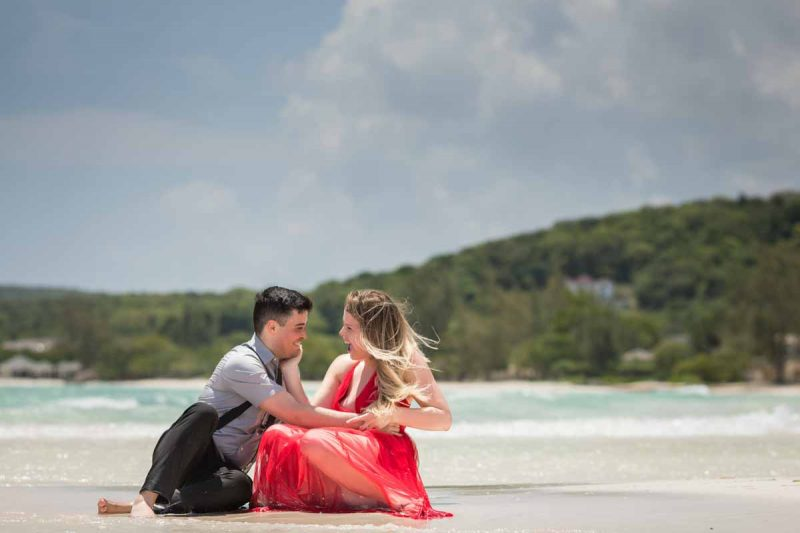 Destination wedding Jamaica Royalton White Sands Montego Bay sitting on water