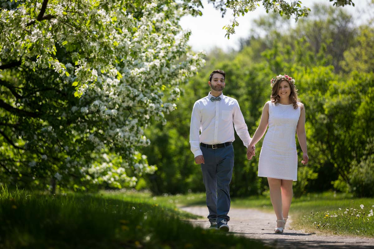 Engagement session at Montreal botanical garden walking