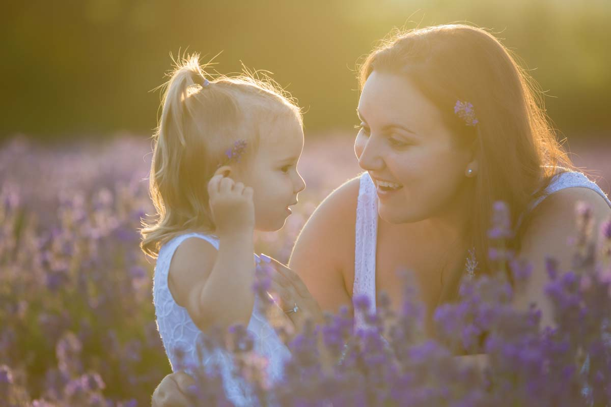 Mom and daughter lavender sunset