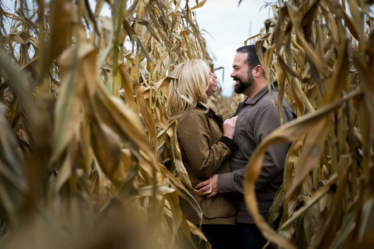 Engagement photo corn field
