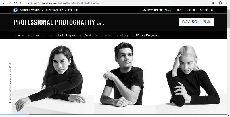 Dawson College Photography website screenshot