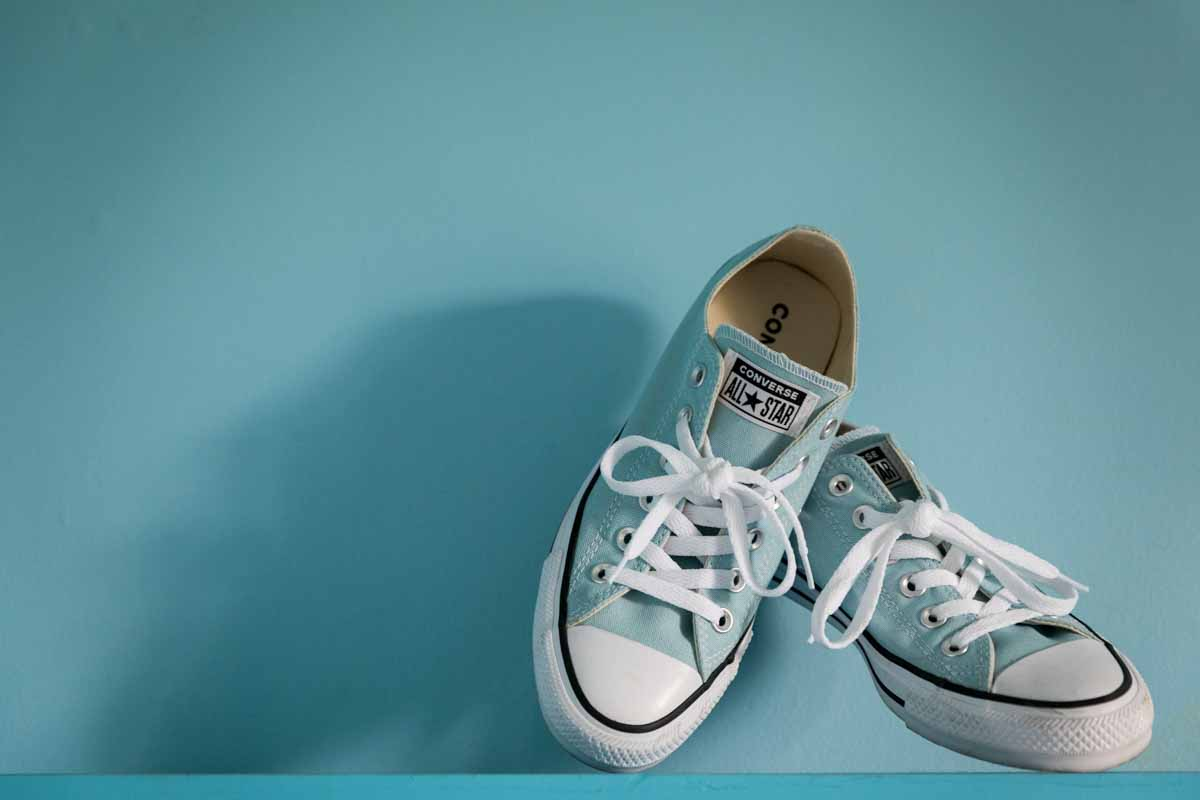 Blue Converse shoes for wedding