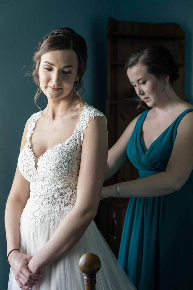 Maid of honor attaching dress