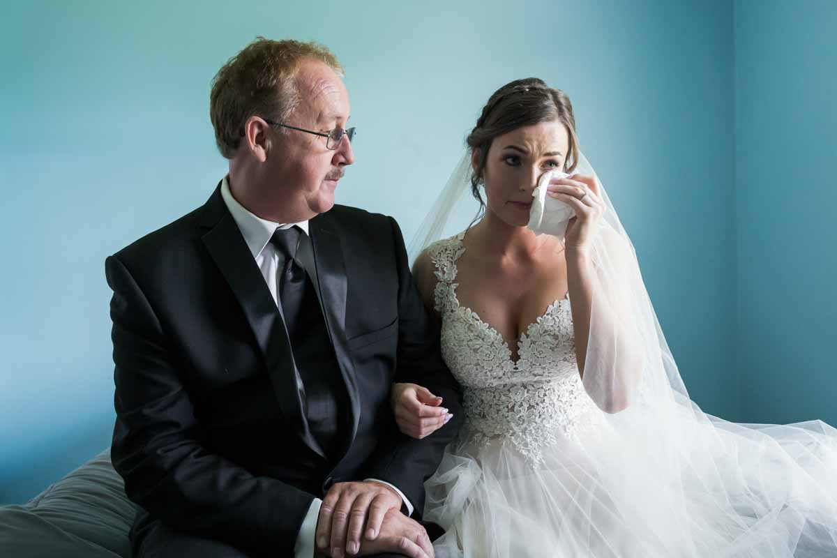 Bride in tears with dad