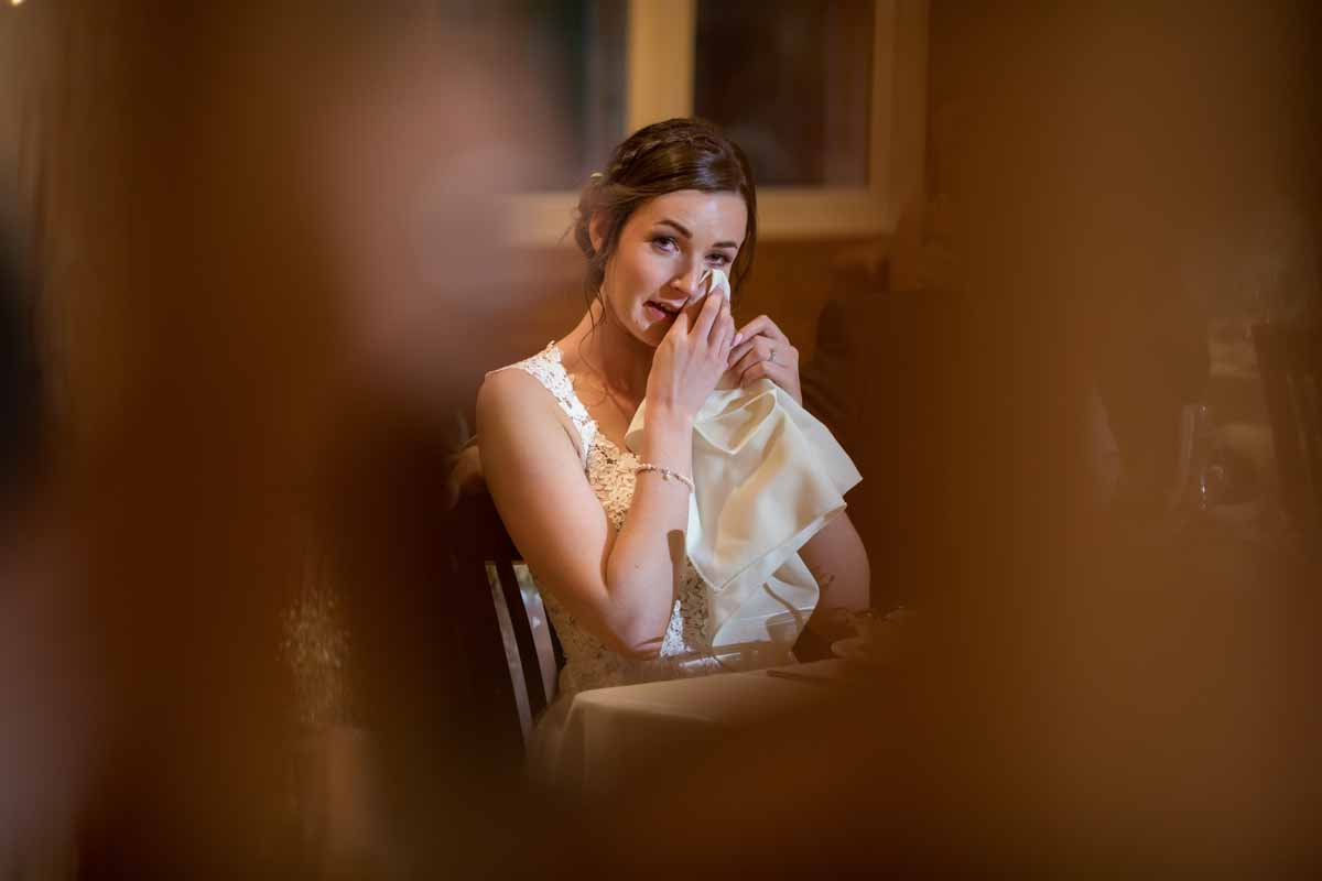 Bride crying during speech
