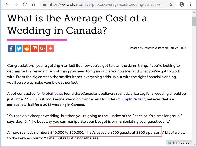 Expect to spend $40,000 to $50,000 on a wedding according to Slice.ca