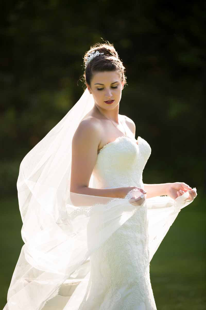 Bride's veil catching wind