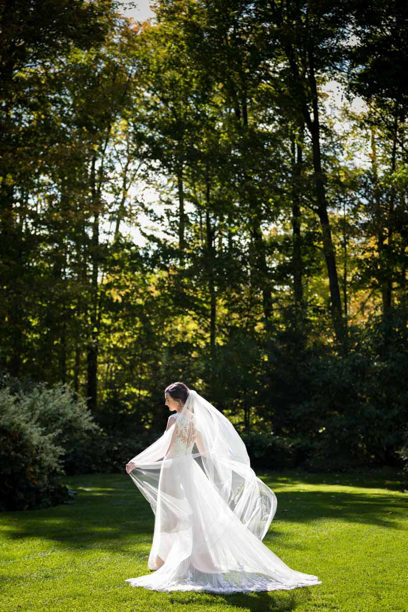 Bride's veil catching wind in park