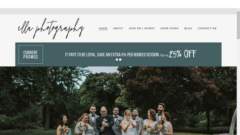 Screenshot of Ella Photography's homepage