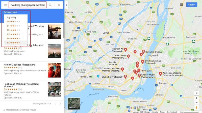Google Maps showing Montreal wedding photographers