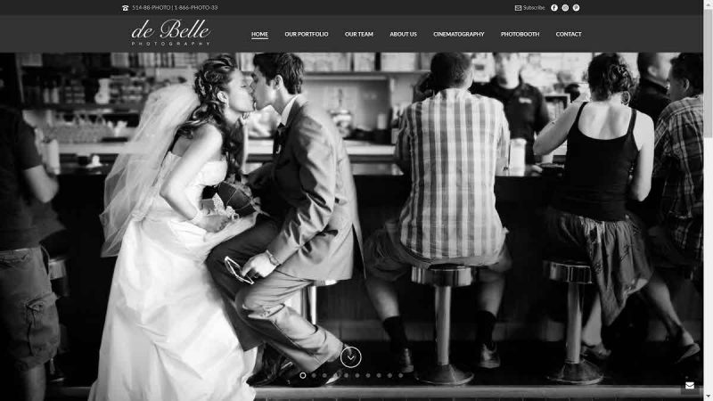 screenshot of de Belle's homepage